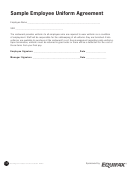 Sample Employee Uniform Agreement (restaurant)