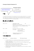Student/graduate Cv Example Template