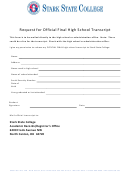 Request For Official Final High School Transcript - Stark State College