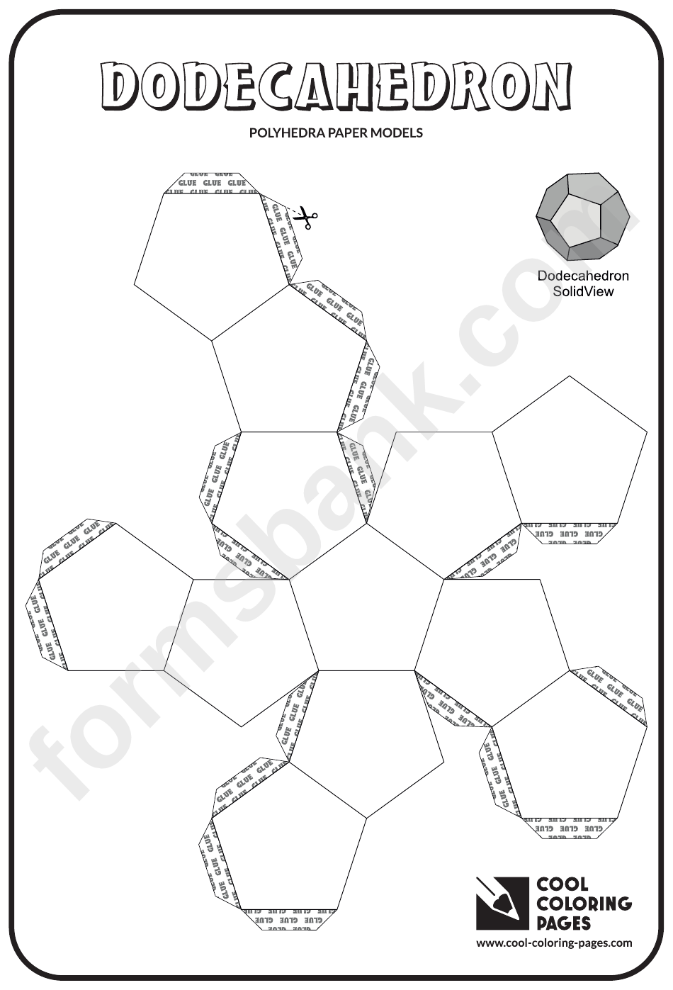 Dodecahedron Template And Coloring Sheet printable pdf download