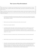 Career Plan Worksheet Template