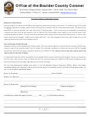 Autopsy Report Request Form - Office Of The Boulder County Coroner
