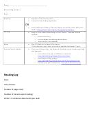 Reading Log Template - Grade 3