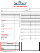 Church Event Budget Worksheet - New Song