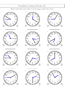 Reading Analog Clocks (e) Worksheet With Answer Key