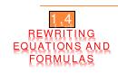Rewriting Equations And Formulas Worksheet