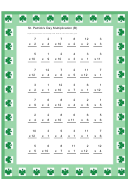 St. Patrick's Day Multiplication Worksheet With Answer Key
