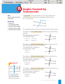 Angles Formed By Transversals Worksheet With Answer Key