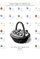 Easter Eggs In A Basket Addition Worksheet With Answer Key