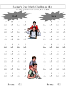 Father's Day Math Challenge Mixed Review Worksheet With Answer Key