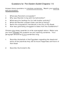 Questions For The Golden Goblet Chapters 1-5 Worksheets