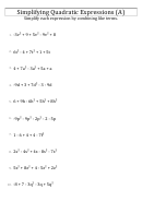 Simplifying Quadratic Expressions (a) Worksheet With Answer Key