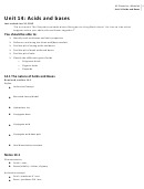 Acids And Bases Worksheet - Michalek, Unit 14