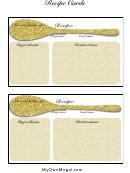 Glittery Gold Recipe Card Template