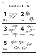 Black & White Insects Numbers 1-5 Chart