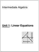Linear Equations Worksheet - Intermediate Algebra, Unit 1
