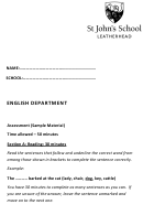 English Grammar Worksheet - St John's School