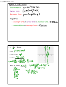 Algebra 2 5.1-5.2 Review - Standard Form/vertex Form/intercept Form Worksheet With Answers