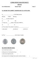 Math Worksheet - Atomic Energy Education Society - Class 1 - 2015-2016