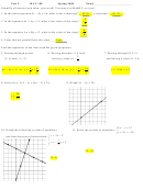 Test 2 Mat 190 Worksheet With Answers - 2008