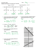 Graphing Linear Equations Using Slopes And Y-intercepts Worksheet With Answers