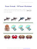 Ocean Animals - Different Worksheet