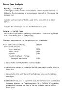Break Even Analysis Financial Math Worksheet