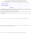 College Planning Questionnaire For Seniors Template