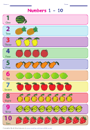 1-20 Number Line Template With Fruits