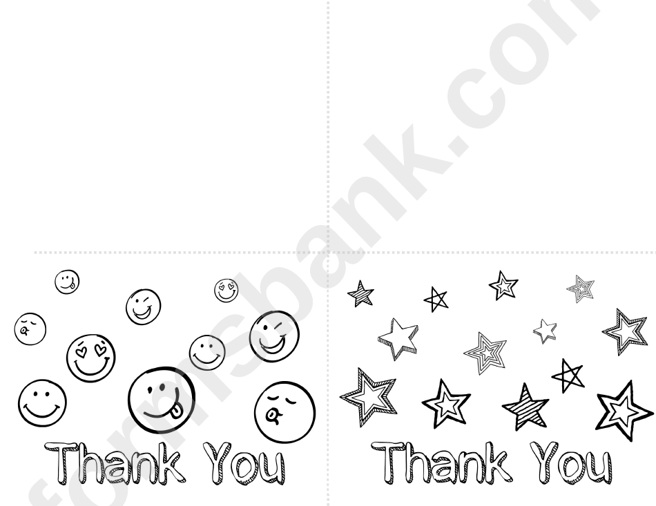 Thank You Coloring Postcard Template - Smile And Stars