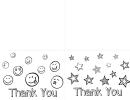 Thank You Coloring Postcard Template - Smile And Stars Printable pdf