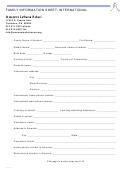 Family Information Sheet: International - Ascension Lutheran School