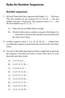 Rules For Number Sequences Worksheet