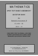 Cbse Open Text Material And Cbse Sample Questions Including Some Probable Questions Theme Wise Math Worksheet - Class-ix, 2014-15