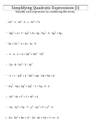 Simplifying Quadratic Expressions (i) Worksheet With Answer Key