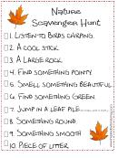 Nature Scavenger Hunt List Template printable pdf download