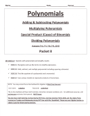 Polynominals Examples And Worksheets (lessons 7-5. 7-7, 7-8, 7-9. 12-6) Packet 8