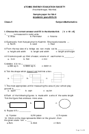 Sample Paper For Sa-2 Worksheet - Class-v - Atomic Energy Education Society - 2015-2016