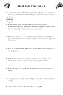 Real Life Fractions 1 Math Worksheet With Answers