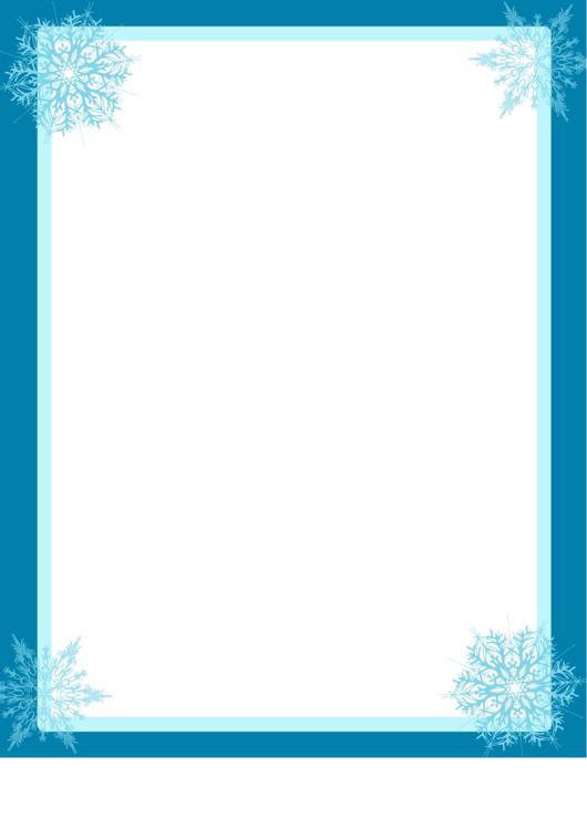 4 Snowflakes Page Border Templates Printable pdf