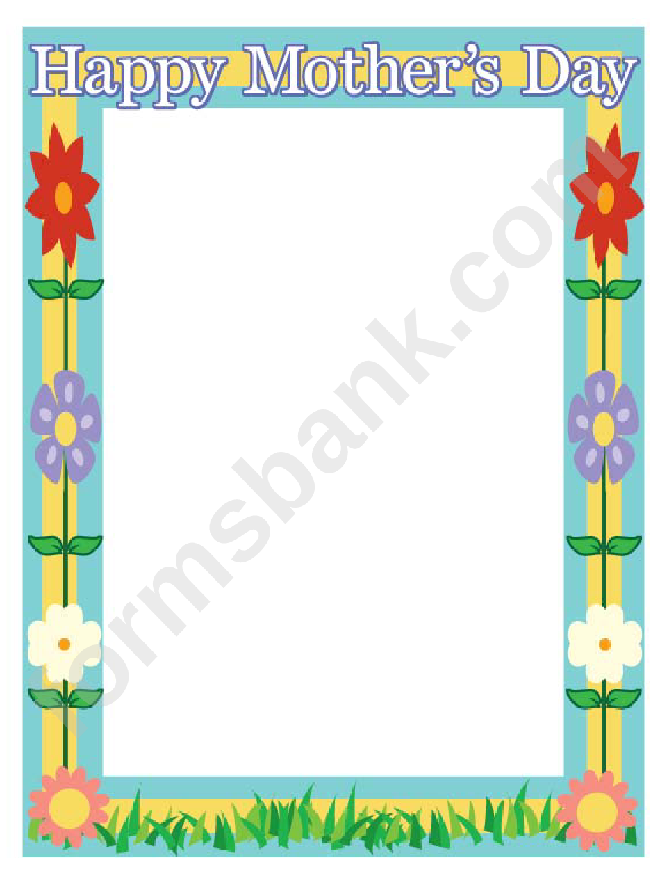 Happy Mothers Day Flowers Page Border Templates