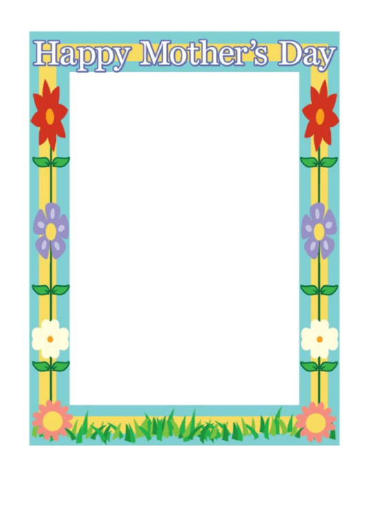 Happy Mothers Day Flowers Page Border Templates Printable pdf