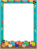 Colored Turkeys Page Border Templates