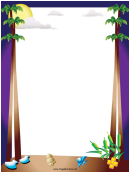 Beach And Palm Trees Page Border Templates