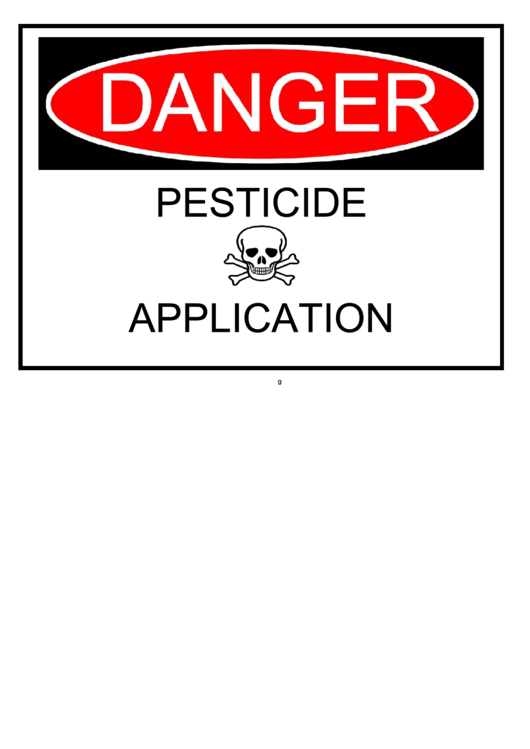 Pesticide Application Warning Sign Template Printable pdf