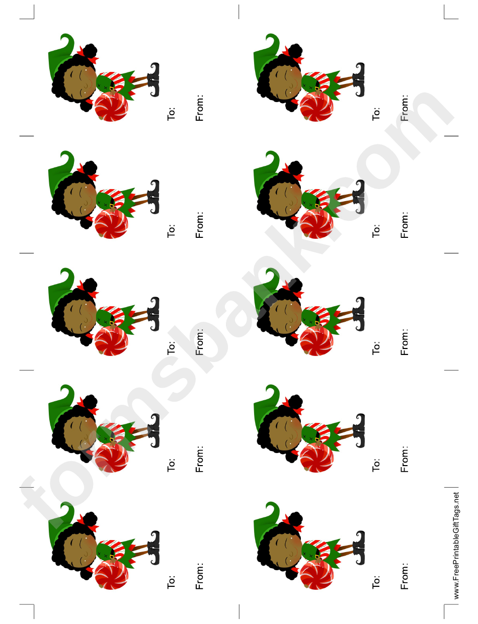 Elf With Round Candy Gift Tag