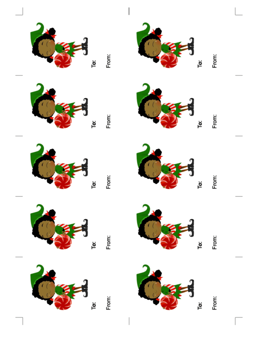 Elf With Round Candy Gift Tag Printable pdf