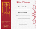 First Penance Certificate Template