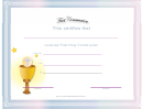First Communion Certificate Template - Communion Cup
