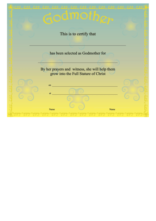 Godmother Certificate Template Yellow Printable Pdf Download